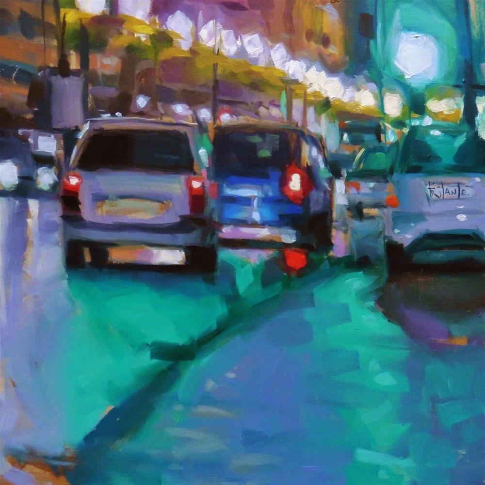"""Green lights of Granada"" original fine art by Víctor Tristante"