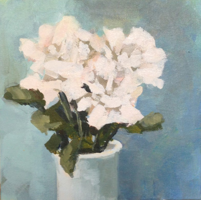 """White Flowers No. 2"" original fine art by Shannon Bauer"
