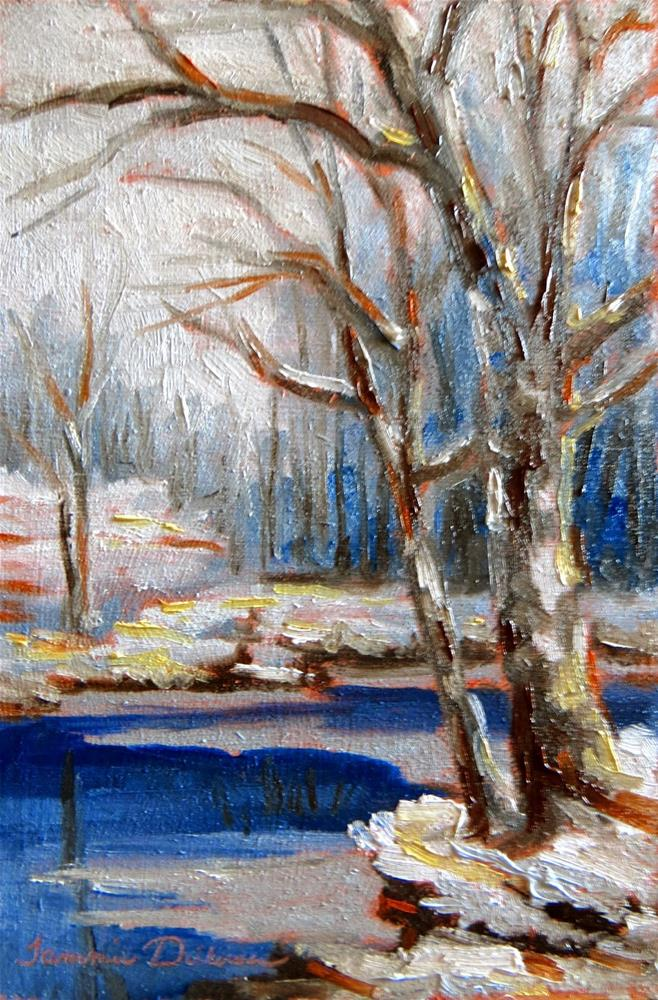 """""""Winter at the Pond"""" original fine art by Tammie Dickerson"""