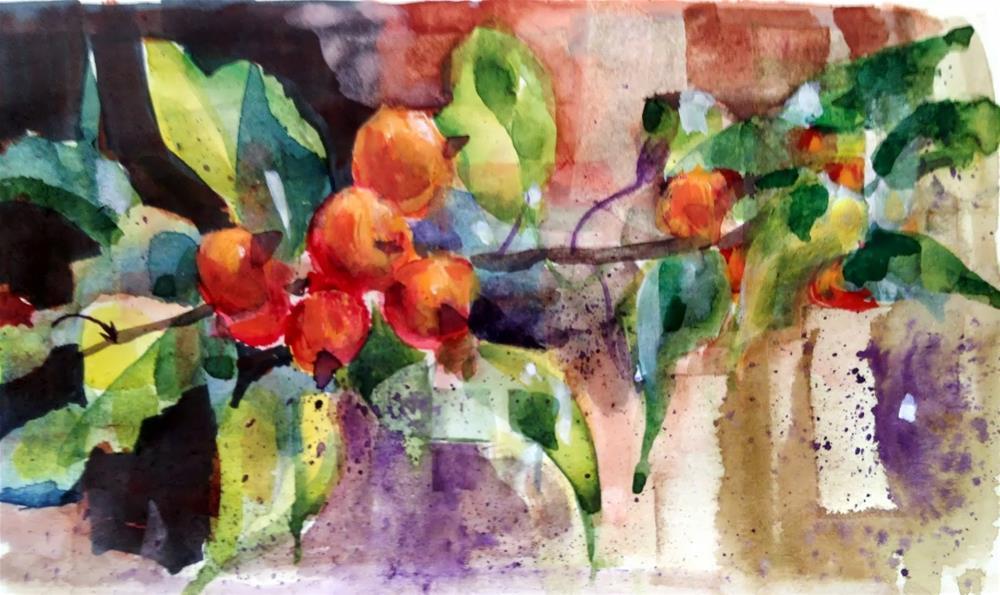 """""""Watercolor Fracturing - Crabapples #2"""" original fine art by Julie Ford Oliver"""