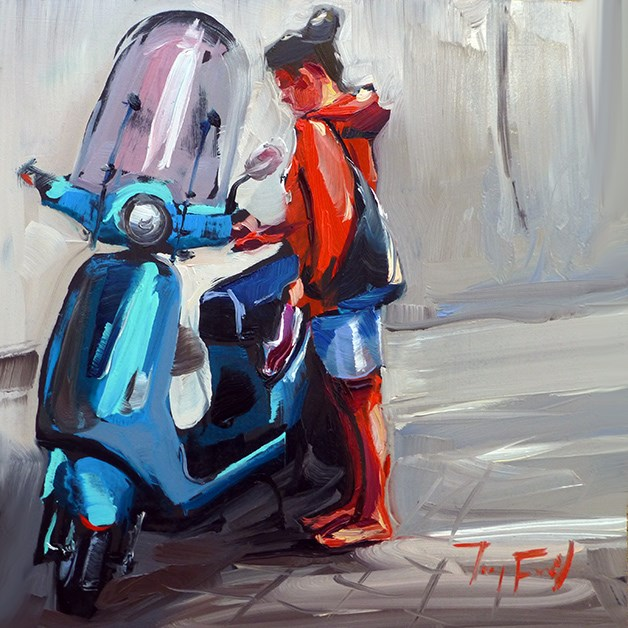 """Rollerfahrerin"" original fine art by Jurij Frey"