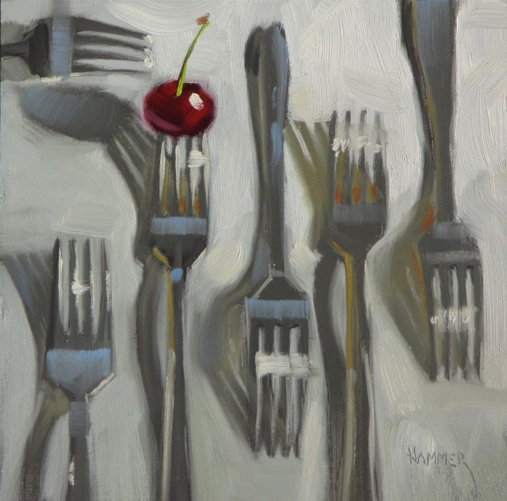 """Forks and a Cherry  6in x 6in  oil"" original fine art by Claudia Hammer"
