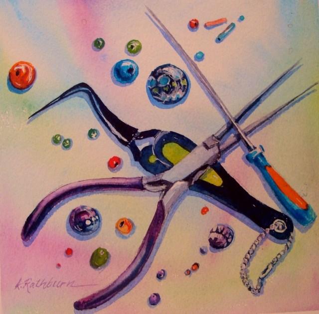 """Watch it...sharp tools."" original fine art by Kathy Los-Rathburn"