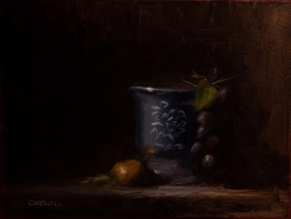 """Pot with Hanging Grapes"" original fine art by Neil Carroll"