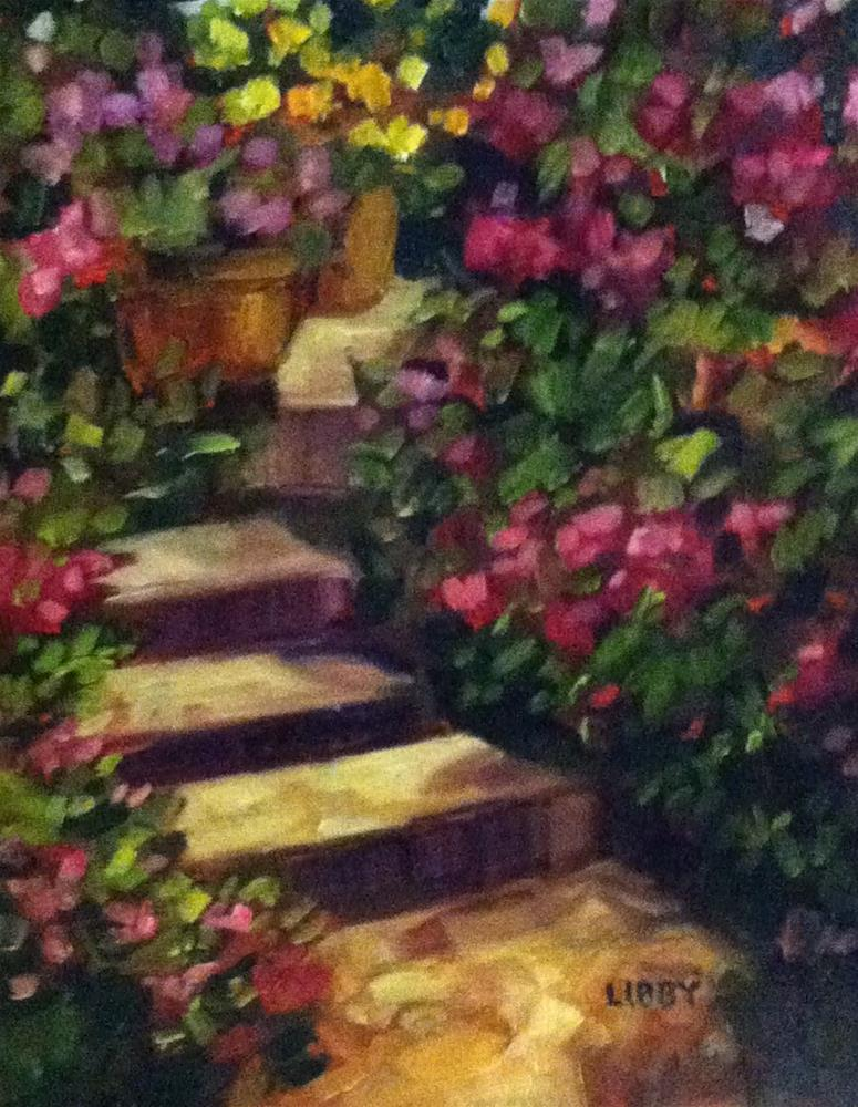 """""""Garden Stairs"""" original fine art by Libby Anderson"""