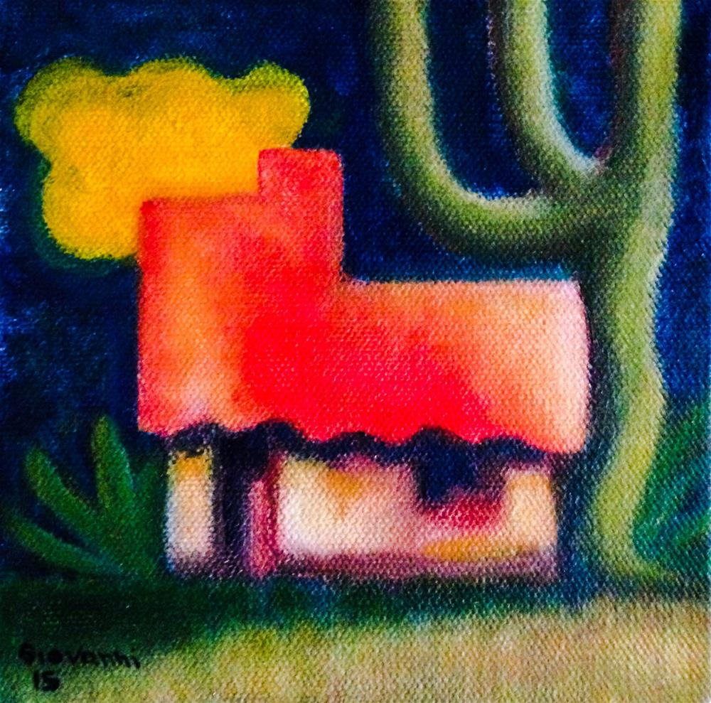 """""""The house and the yellow cloud"""" original fine art by Giovanni Antunez"""