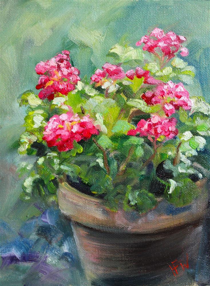 """Pink Geranium"" original fine art by H.F. Wallen"