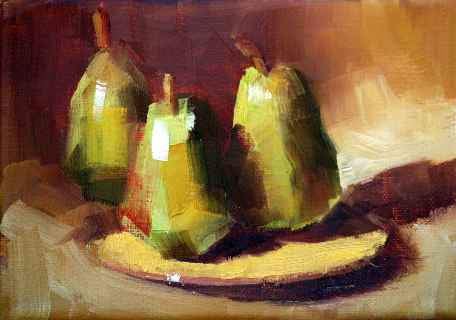 """pears on a plate"" original fine art by Carol Carmichael"