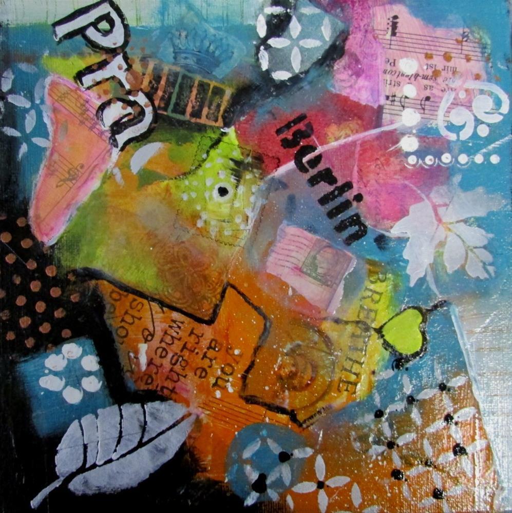 """8 x 8 inch mixed media Temperance"" original fine art by Linda Yurgensen"