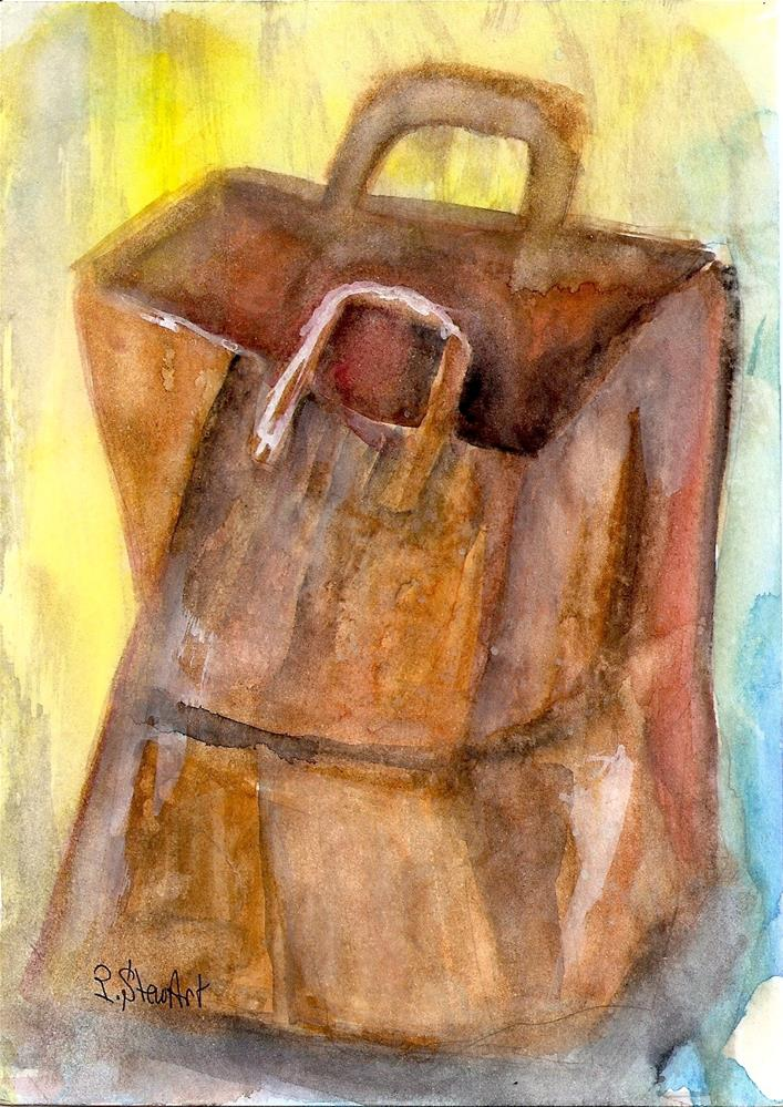 """""""5x7 A Wet Paper Bag Painting Watercolor on Hot Press by Penny StewArt"""" original fine art by Penny Lee StewArt"""