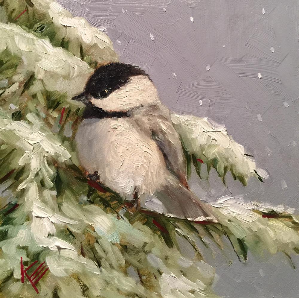 """Chikade & Pine"" original fine art by Krista Eaton"