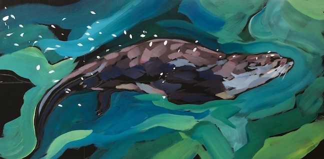 """Otter Vibe"" original fine art by Kat Corrigan"