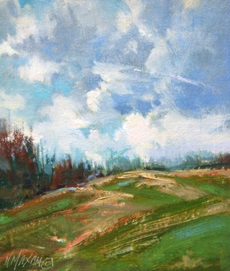"""Afternoon Horizon - landscape of billowing clouds & hillside"" original fine art by Mary Maxam"