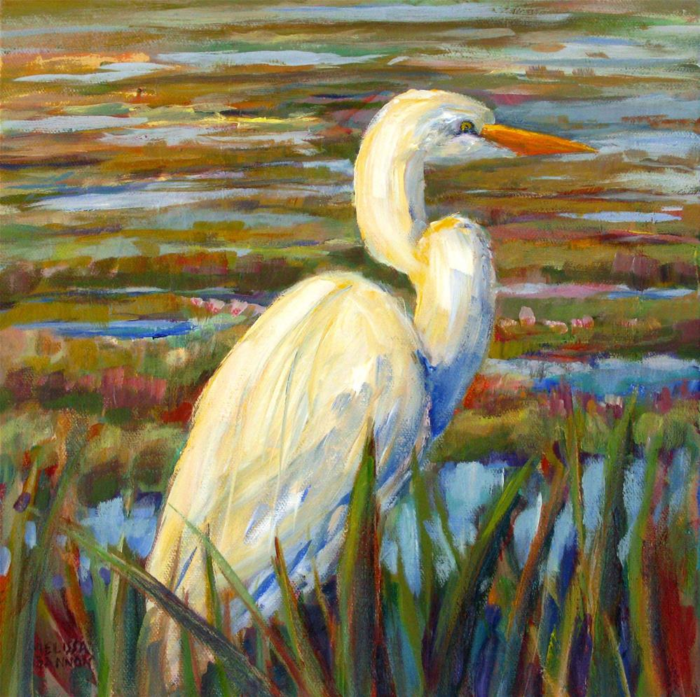 """Egret in the Marsh"" original fine art by Melissa Gannon"