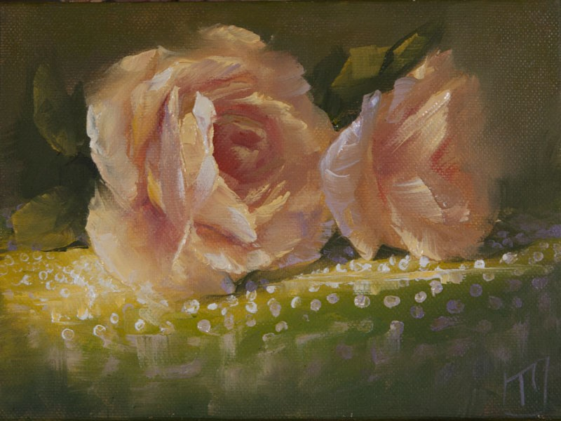 """Tablecloth series Yellow Rose"" original fine art by Lori Twiggs"