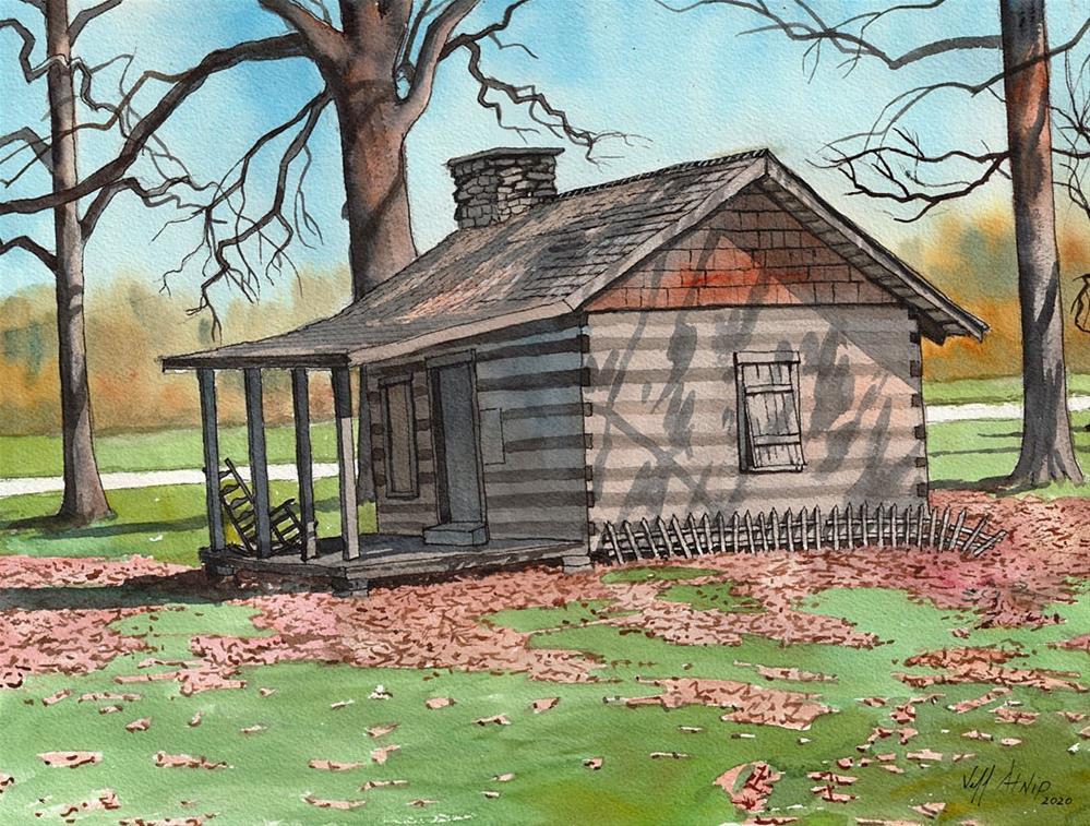 """""""The Ganoe-Bussell Cabin"""" original fine art by Jeff Atnip"""