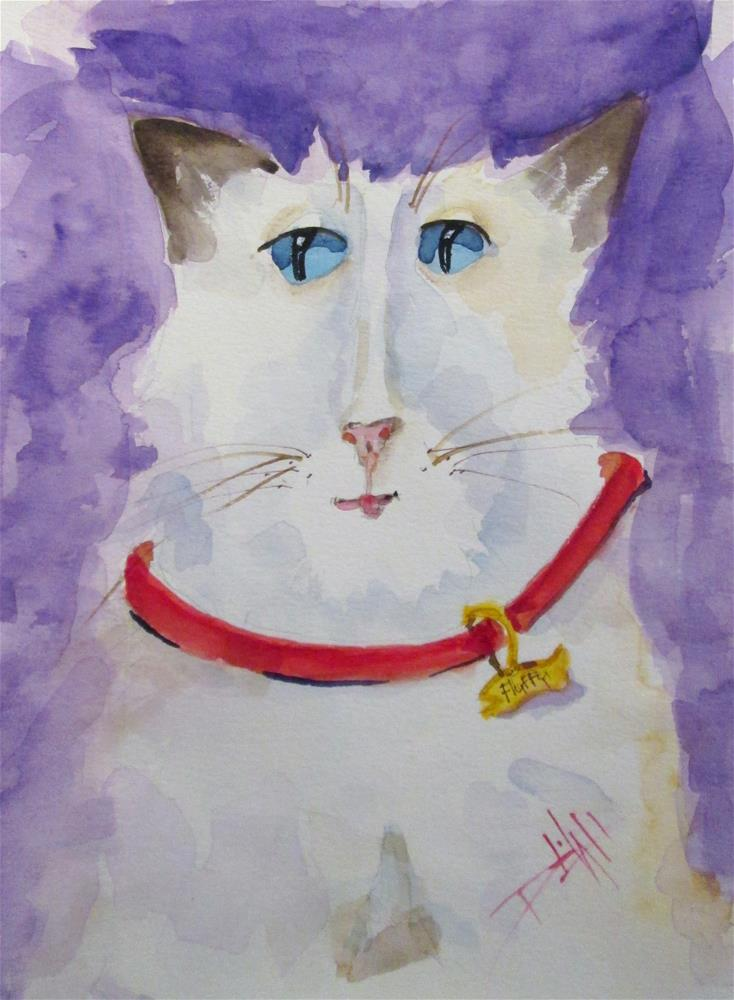 """White Cat"" original fine art by Delilah Smith"