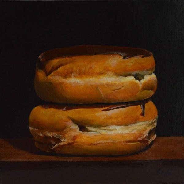 """Dramatic Chocolate Boston Creme Donuts"" original fine art by Kim Testone"