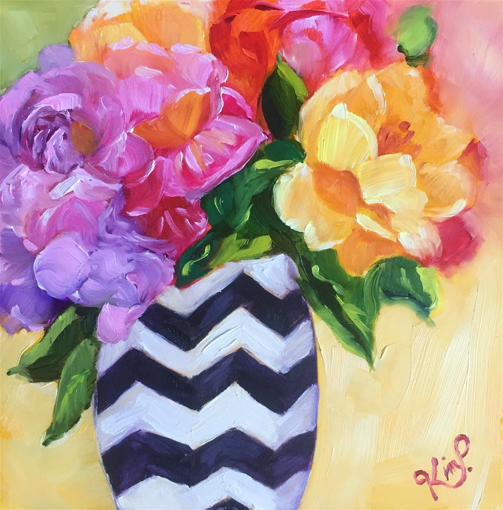 """Colorful Bouquet in Chevron Vase"" original fine art by Kim Peterson"