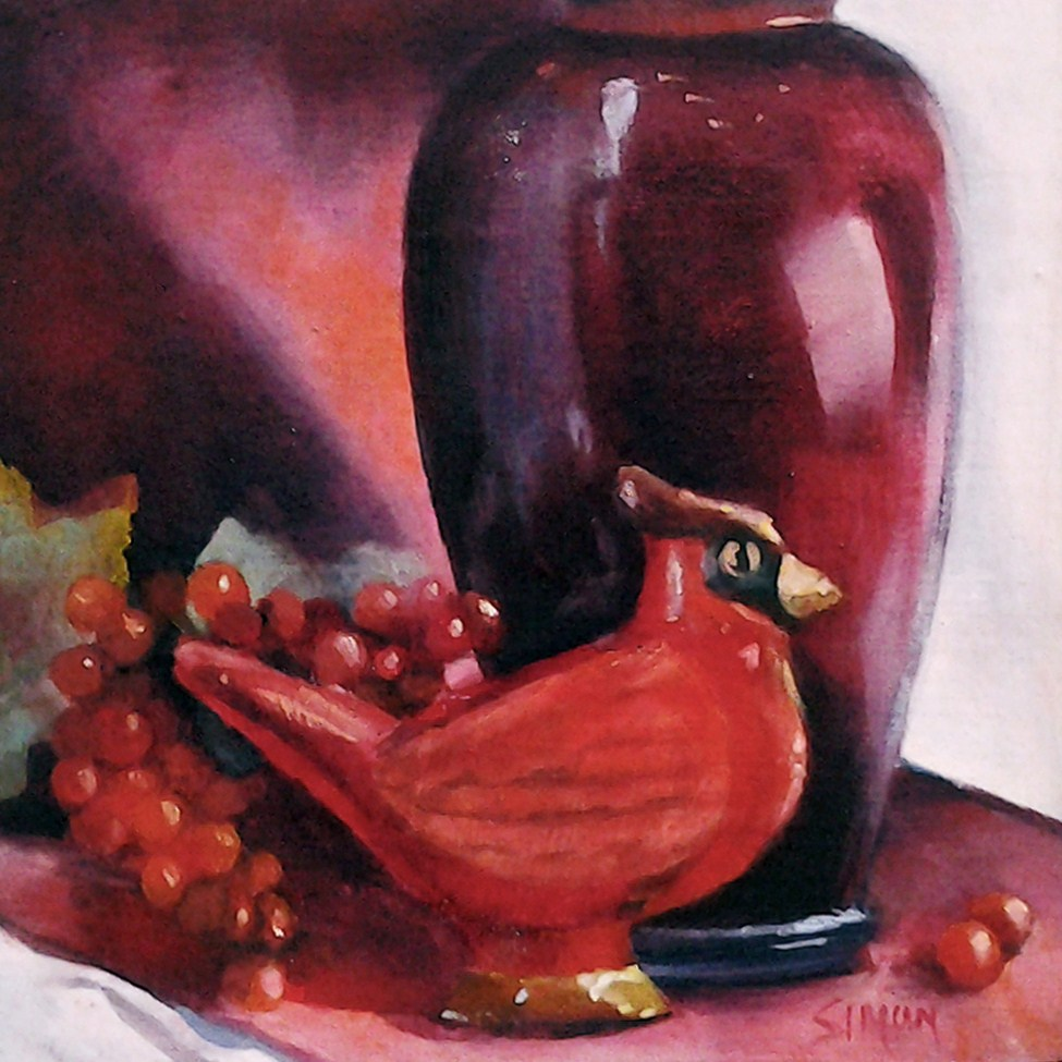 """""""Red on Red"""" original fine art by A.K. Simon"""
