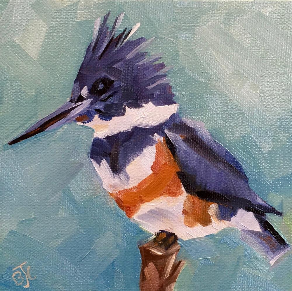 """Female Belted Kingfisher"" original fine art by Bobbie Cook"