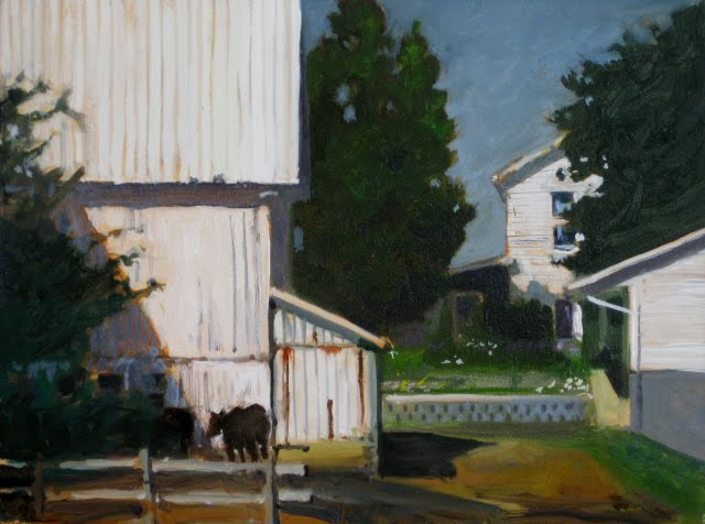 """""""White Barn  Amish country, oil landscape daily painting"""" original fine art by Robin Weiss"""