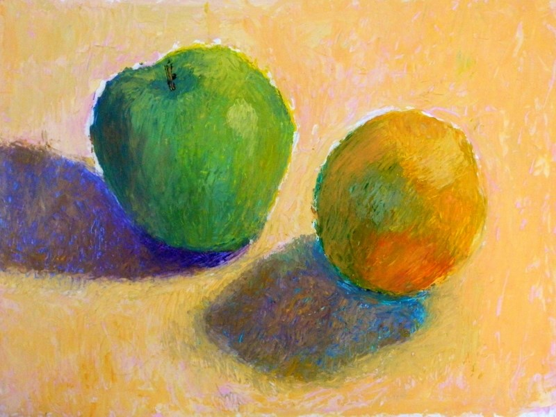 """Green Apple and Orange"" original fine art by Sharon Yarbrough"