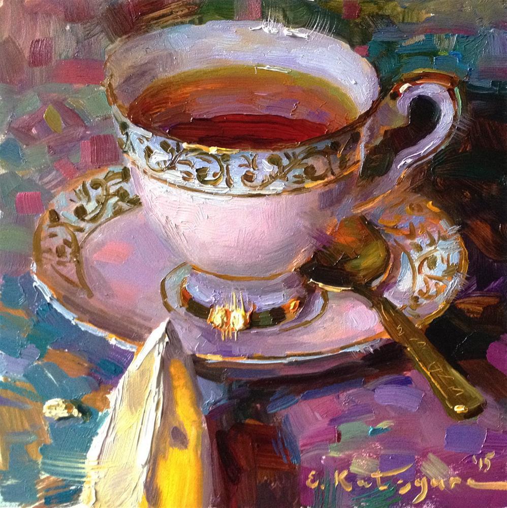 """Pearl Teacup and Lemon"" original fine art by Elena Katsyura"