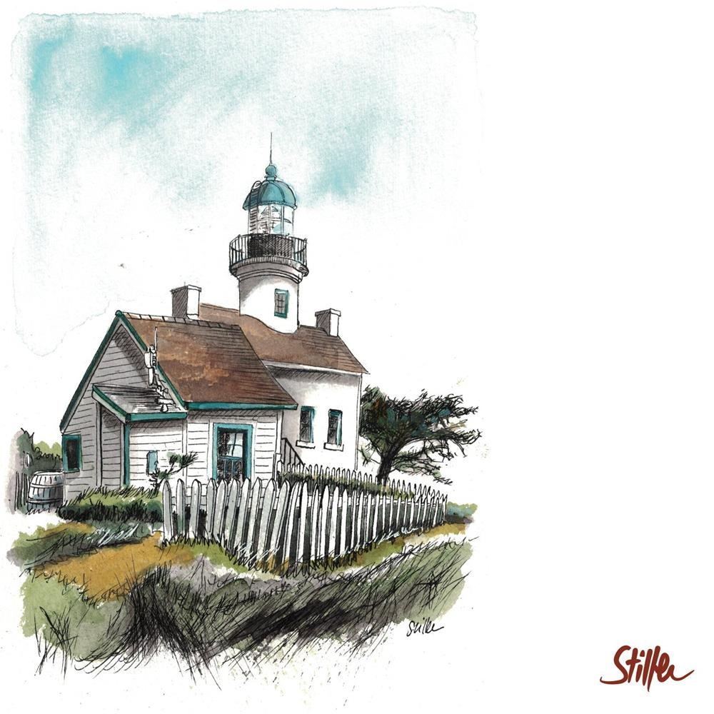 """3442 Old Point Loma Light Stationhouse"" original fine art by Dietmar Stiller"