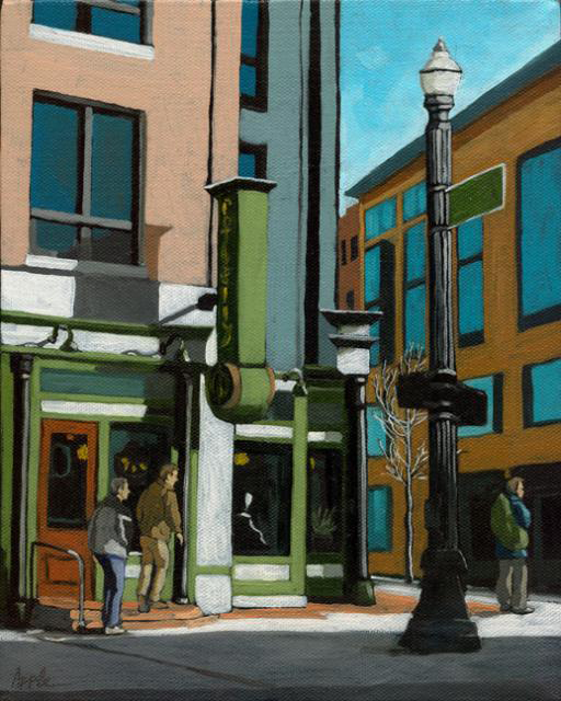 """Downtown Lunchtime"" original fine art by Linda Apple"