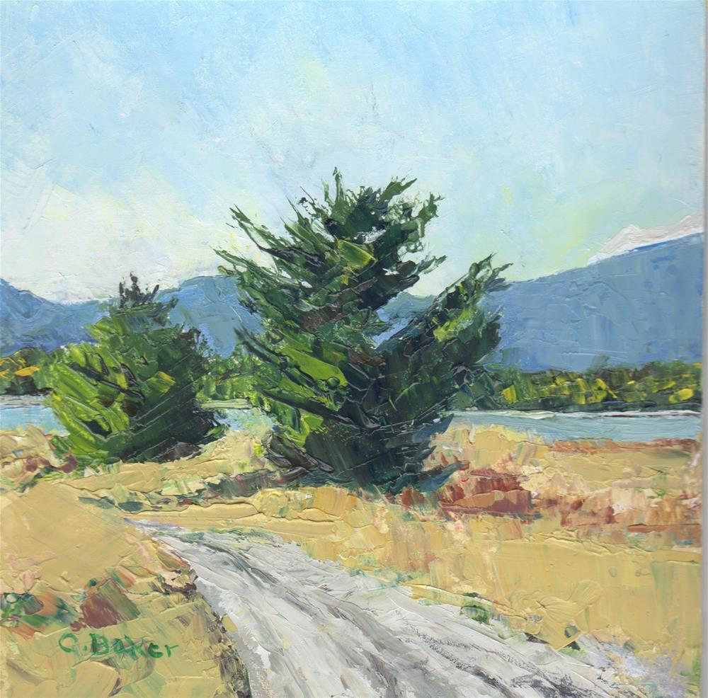 """""""Two Trees Towards the River"""" original fine art by Carole Baker"""