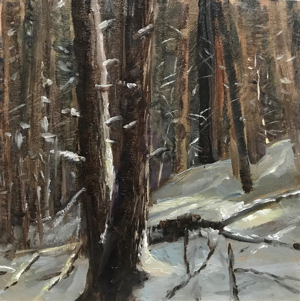 """the first snow in my woods"" original fine art by Betty Argiros"