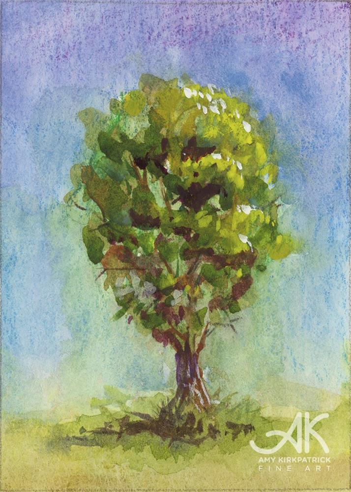 """TREE #21 (ACEO) #0670"" original fine art by Amy Kirkpatrick"