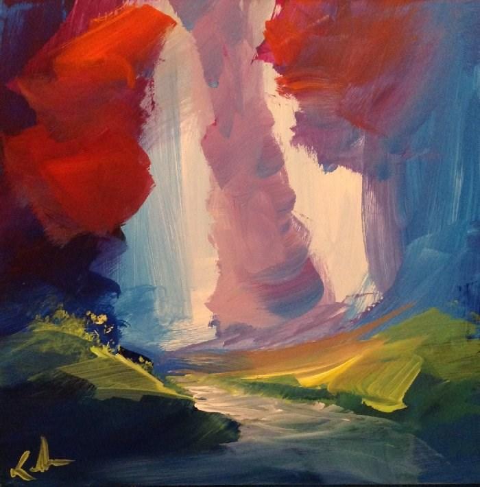 """""""Over the Still Stream"""" original fine art by David Kuhn"""
