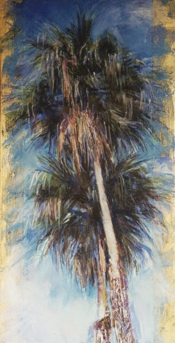 """2 PALMS + GOLD - 30 h x 15w oil pastel + gold leaf palm trees by Susan Roden"" original fine art by Susan Roden"