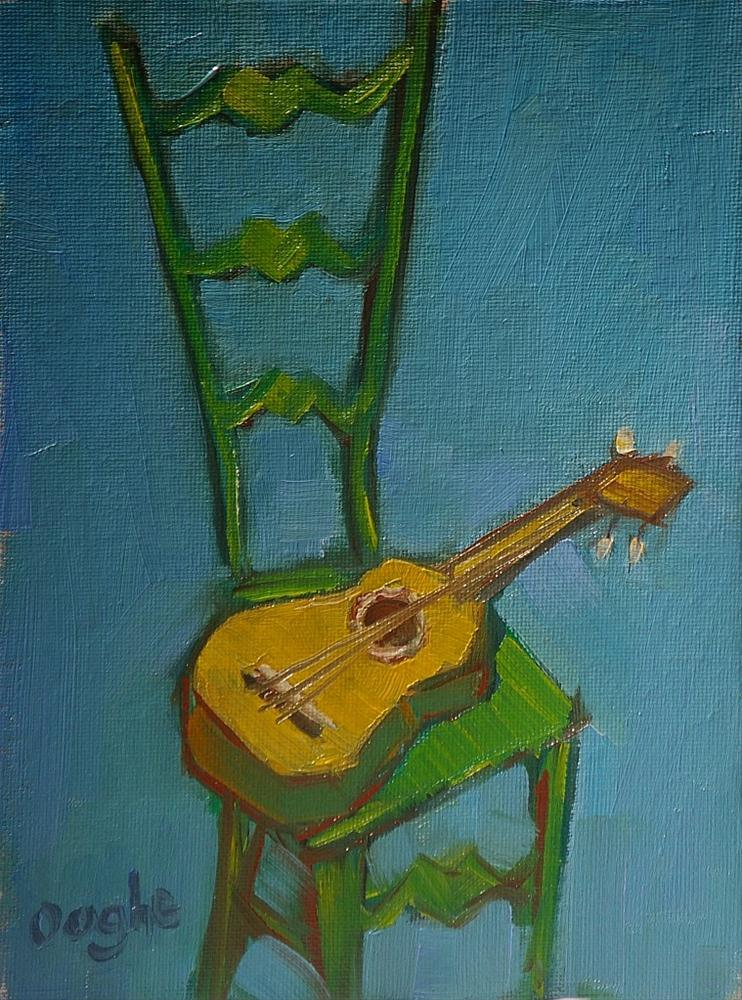 """""""ukulele and green chair"""" original fine art by Angela Ooghe"""