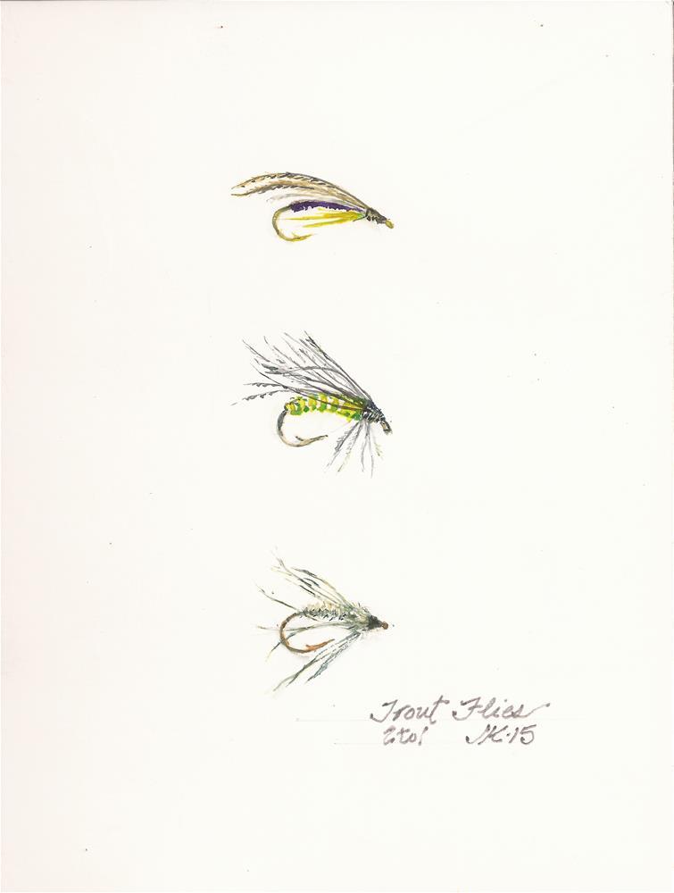 """""""Trout Flies"""" original fine art by Jean Krueger"""