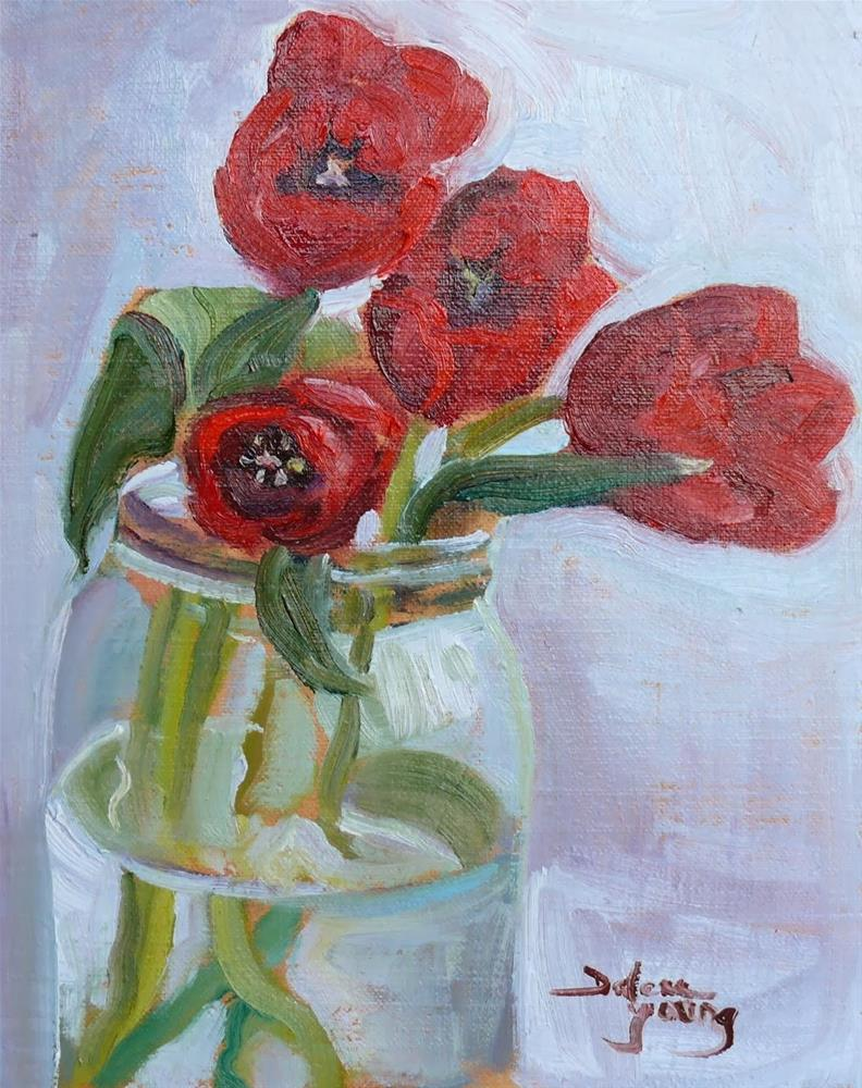 """""""706 Red Tulips"""" original fine art by Darlene Young"""