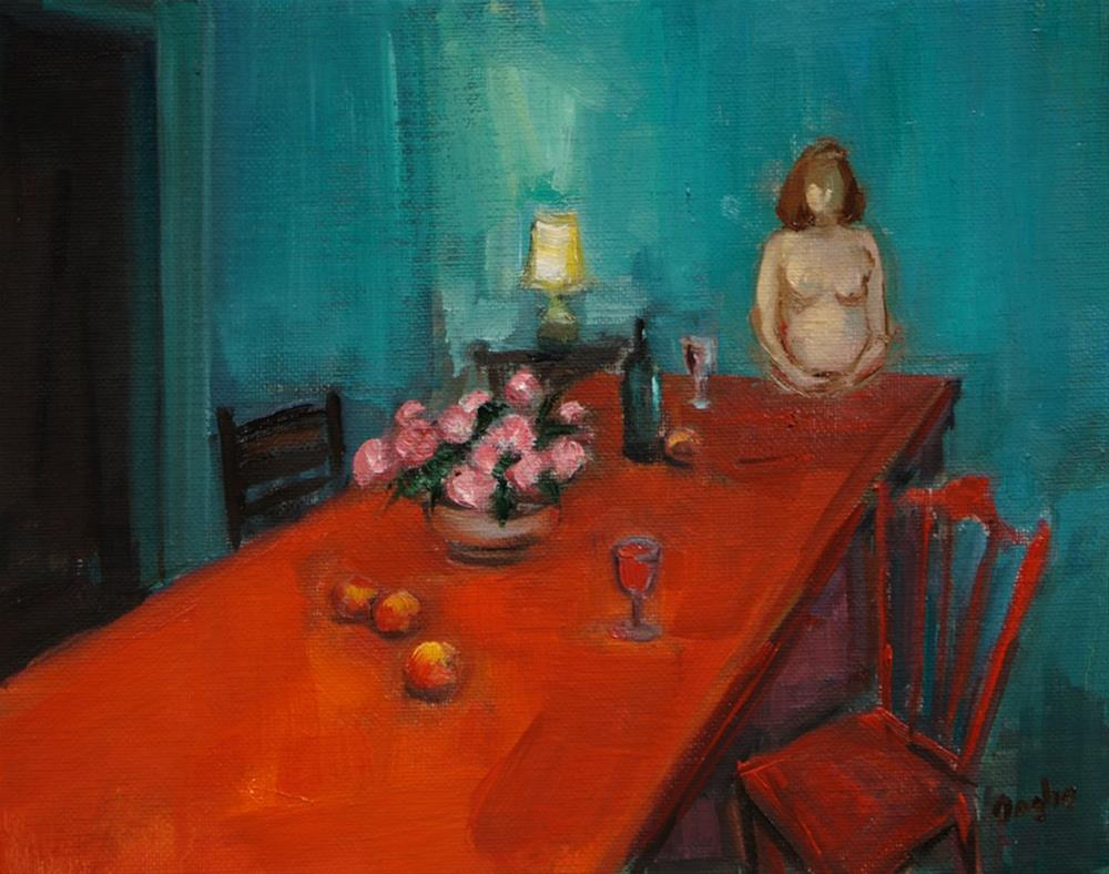 """""""Red Table Nude"""" original fine art by Angela Ooghe"""