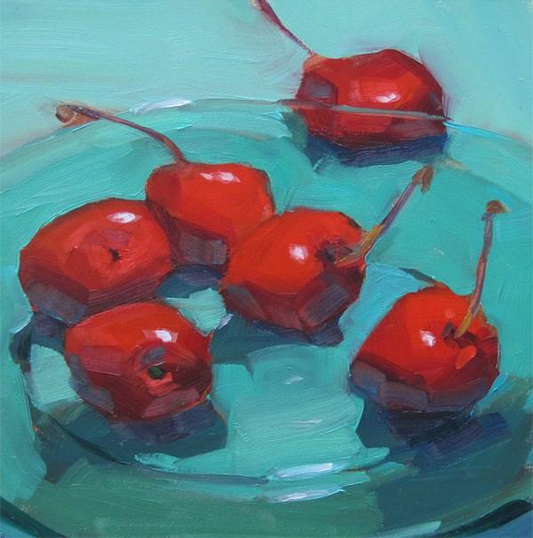 """Cherries on Glass Plate"" original fine art by Robin Rosenthal"