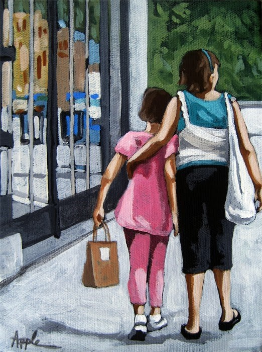 """Big Sister girls shopping on city street figurative paintng"" original fine art by Linda Apple"