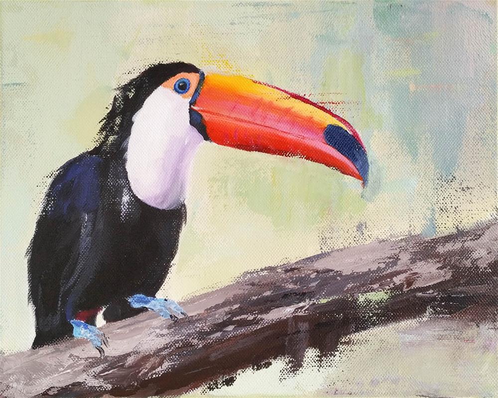 """Colorful Toucan"" original fine art by Iryna Khort"