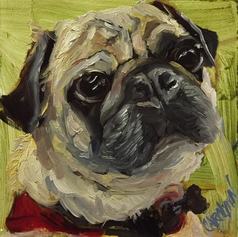 """""""Butch - New York City Subway Dog"""" original fine art by Carolynn Doan"""