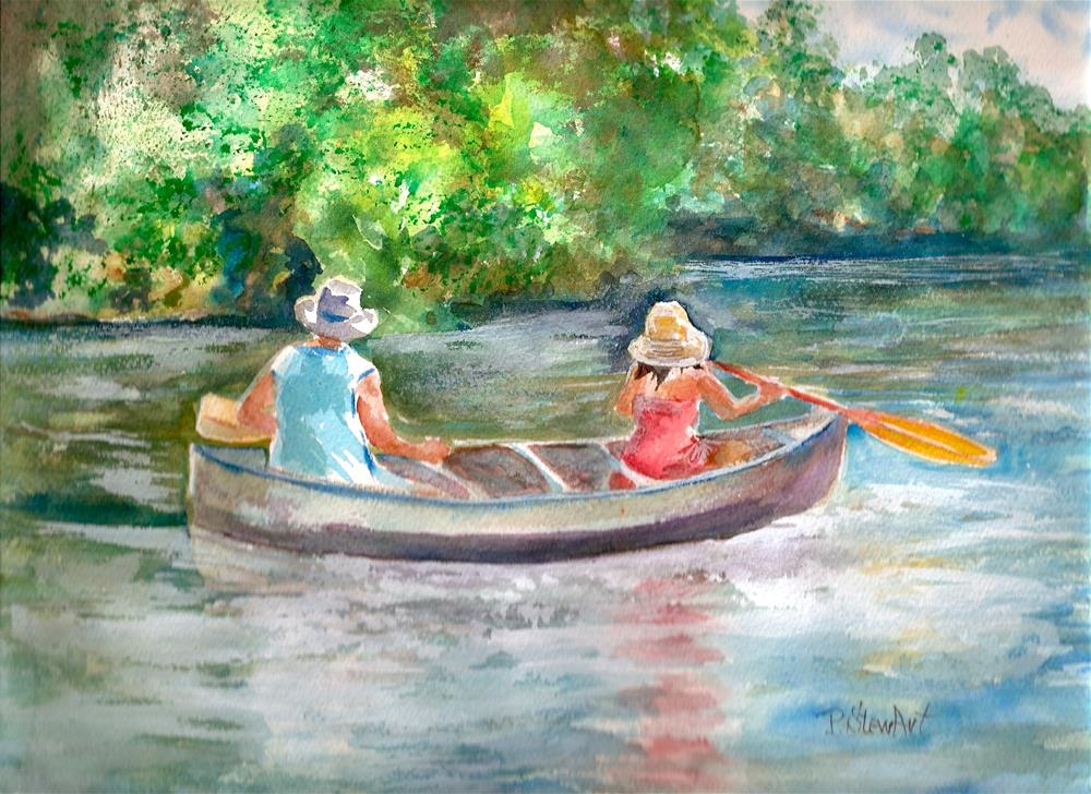 """9x12 Down by the River Boating Rowing Lake Scene Watercolor Penny StewArt"" original fine art by Penny Lee StewArt"