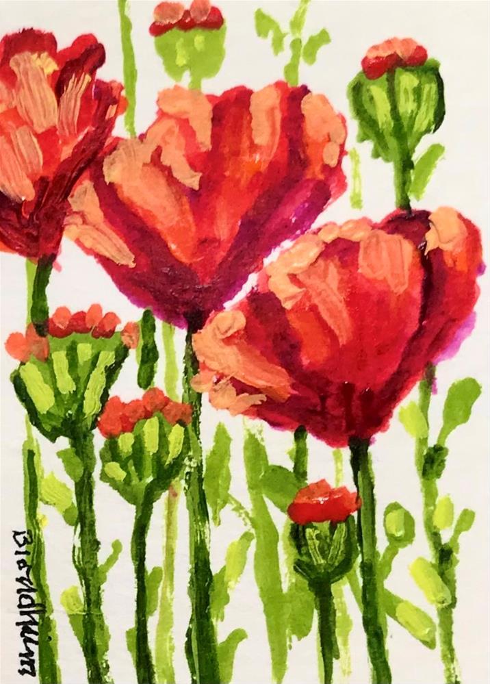 """""""Red Poppies"""" original fine art by Linda Blondheim"""