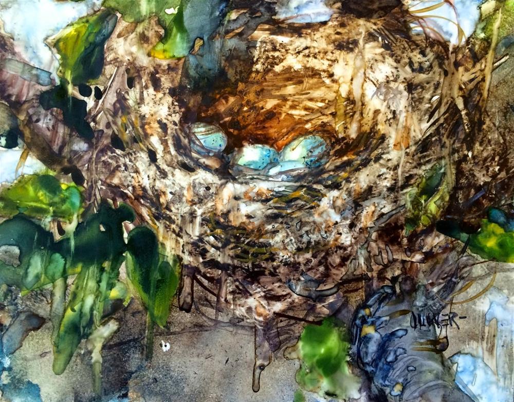 """""""Dryer Lint Nest."""" original fine art by Julie Ford Oliver"""