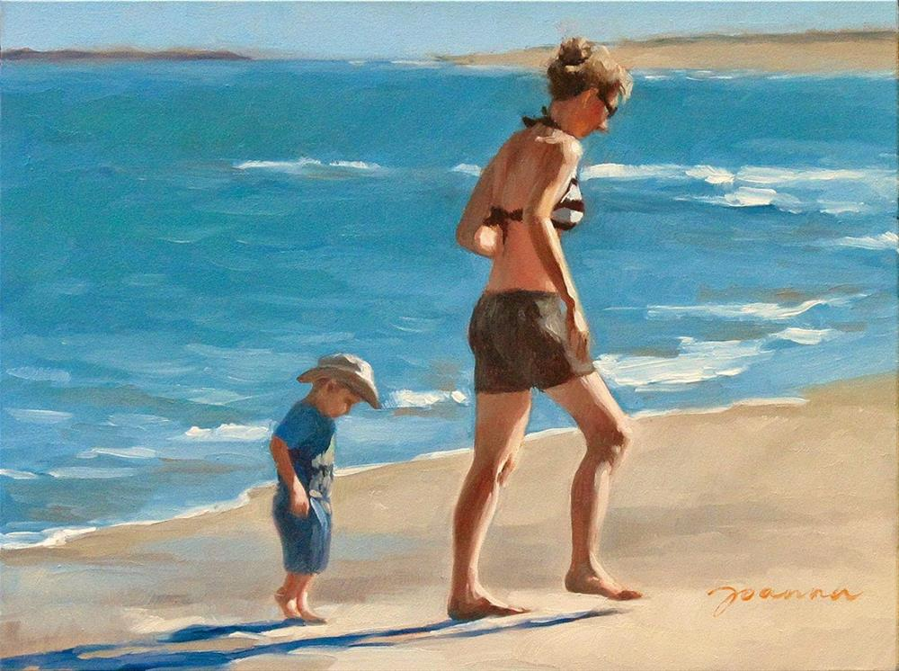 """Little Tail--Series Painting of Mother and Child at Beach"" original fine art by Joanna Bingham"