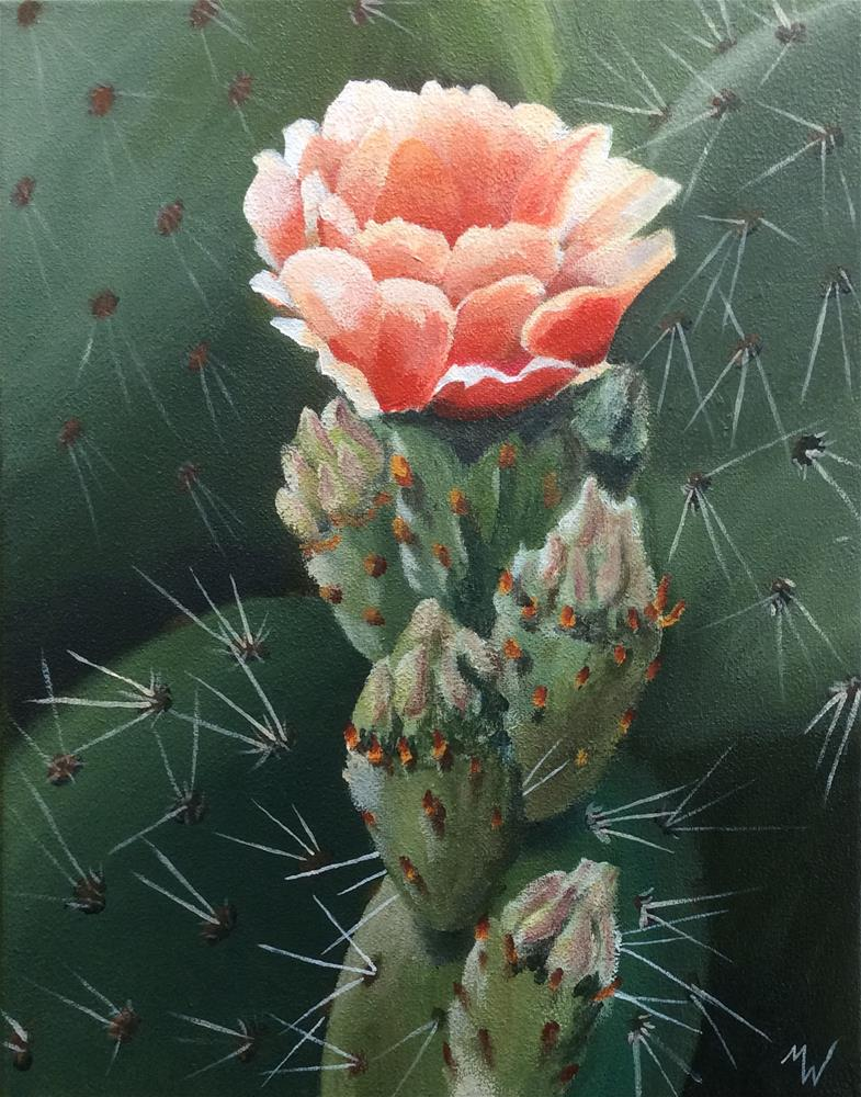 """Cactus Bloom"" original fine art by Michelle Wolfe"