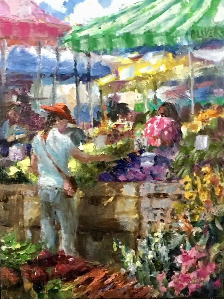 """Farmers Market -  The Red Hat."" original fine art by Julie Ford Oliver"