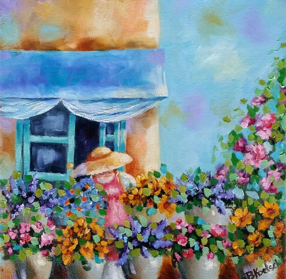 """""""Flower Shopping"""" original fine art by Bobbie Koelsch"""
